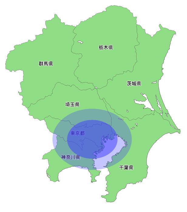 観葉植物レンタルの提供エリアになっている東京都・神奈川県・千葉県・埼玉県